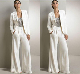 Wholesale Women Pant Suit 14 - 2016 Bling Sequins Ivory White Pants Suits Mother Of The Bride Dresses Formal Chiffon Tuxedos Women Party Wear New Fashion Modest