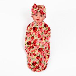 2019 arco de cabeça de toalha Bebê Meninas Swaddle Floral Envoltório Cobertor Arco Headbands Set Flor Infantil Swaddle Sono Macio Saco de Bebê Envoltório Toalha De Cabelo Hairbands Set BHW201