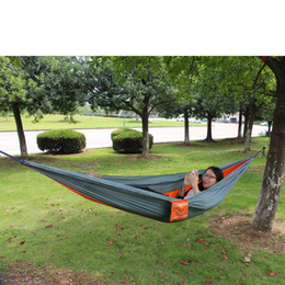 Wholesale Indoors Hammock - USA Free Shipping Outdoor or Indoor Parachute Cloth Sleeping Hammock Camping Hammock Nylon Parachute Fabric Double Hammock 89012302