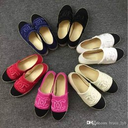 Wholesale Lambskin Leather Shoes - Famous Brand Women Espadrilles Top Quality Brand 2017 Real Lambskin Women Flat Shoes Comfortable casual loafers Size EUR35-42