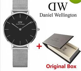 Wholesale Fashion Woman Watches - Original BOX Ship top luxury brand Daniel women men Wellington's fashion Lovers women steel mesh gold mens watches montre femme relojes