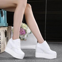 Wholesale Espadrilles Ladies Shoes - 10cm---12cm High Heels 2017 Women Casual PU leather Shoes Woman platform Wedges High Top with lace-up Ladies mujer Espadrilles