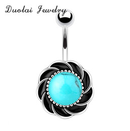 Wholesale Gem Belly Bar - 2016 New Hot Nature stone turquoise Punk vintage flower navel belly Button Rings Bar shield gem Body Jewelry Piercing