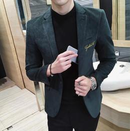 Wholesale Blazer Jacket Men Khaki - Wholesale- Mens blazer slim fit suit jacket Khaki green gray velvet 2017 spring autumn outwear coat Free shipping Suits For Men