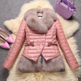 Wholesale padded leather neck collar - Women's luxury winter natural fox fur collar genuine sheepskin leather white duck down padded long sleeve coat bow double breasted parkas