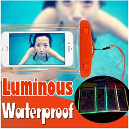 Wholesale Cases For Android Note - Luminous Waterproof Bag Case PVC Touchscreen Transparent Universal Pouch Cover For iPhone X 8 Plus Samsung Note 8 S8 Android Smartphones