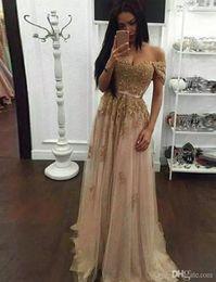 Champagne dentelle perlée arabe robes de soirée sweetheart une ligne tulle hors de l'épaule robes de bal Vintage bon marché formelle robes de soirée concepteur ? partir de fabricateur