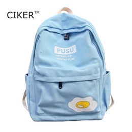 Wholesale Egg Backpack - Wholesale- CIKER Preppy style egg printing backpack women canvas laptop backpack cute school bags for teenage girls rucksack travel bags