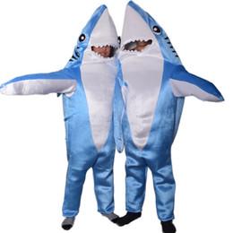 Disfraz de mascota de tiburón adulto online-Ataque azul adultos traje de tiburón cosplay traje de fiesta Mascota Divertido unisex monos lindos disfraces de halloween para las mujeres