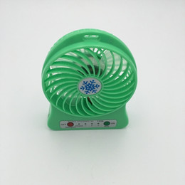 Wholesale Green Rotary Light - 2016 hot sell Mini Protable Fan Multifunctional USB Rechargerable Kids Table Fan LED Light 18650 Battery -green