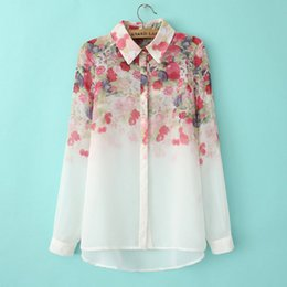 Wholesale casual blouses for women - 2017 New Fashion Floral Print Chiffon Blouse Shirts Casual Elegant Graceful Brand Design Tops for Women 005.
