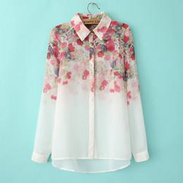 2017 Nova Moda Floral Imprimir Chiffon Blusa Camisas Casual Elegante Gracioso Design Da Marca Tops para As Mulheres 005. de