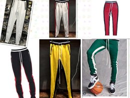 Wholesale Collection Cotton - High quality New Fear Of God Fifth Collection FOG Justin Bieber side zipper casual sweatpants men hiphop jogger pants Green Colour trousers
