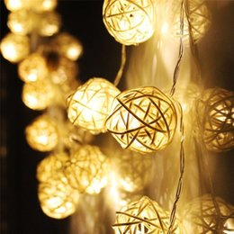Wholesale used white christmas tree - 20 LED Warm White Rattan Ball String Fairy Lights For Xmas Wedding decoration Party Hot use dry battery quality first