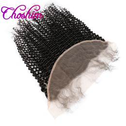 Wholesale Afro Hair Party - Brazilian Afro Kinky Curly Hair Lace Frontal Closure Remy Hair 13x4 Ear To Ear Bleached Knots With Baby Hair Slove Rosa