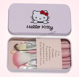 Wholesale Pink Tool Case - 7Pcs Set Hello Kitty Makeup Brushes Cosmetic Kit Make up Brushes Pink Iron Case Toiletry Beauty Appliances Tools High Quality
