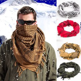 Wholesale Wholesale Unisex Headbands - 100% Cotton Thick Muslim Hijab Shemagh Tactical Desert Arabic Scarf Arab Scarves Men Winter Military Windproof Scarf