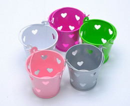 Wholesale Metal Heart Shaped Jewelry Box - Promotion 20pcs lot Size H5*DIA6cm Boutique Heart-shaped Hollow Metal Bucket Jewelry Jewellry Wedding Gifts Candy Sundries Package Box