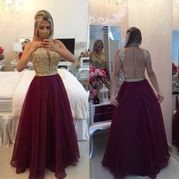 Wholesale Womens Summer Dresses Size 16 - Womens Cocktail Dresses Long 2016 Gold And Burgundy Sexy Backless See Through Special Occasion Prom Party Gowns For Ladies