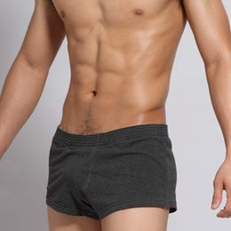 Wholesale Worn Mens Underwear - Wholesale-Casual mens sleep bottoms cotton comfortable male pajama shorts men solid color boxer shorts Sleep wear for man underwear