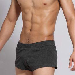 Wholesale Pajama Boxers - Wholesale-Casual mens sleep bottoms cotton comfortable male pajama shorts men solid color boxer shorts Sleep wear for man underwear