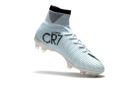 Wholesale Cr7 Boots White - 2018 Original Cristiano Ronaldo Mercurial Superfly v FG CR7 Football Boots White Golden Soccer Shoes mens Training Sneakers Soccer Cleats