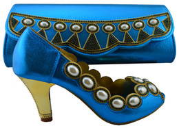 Wholesale Matching Shoes Purses - New arrival blue mix gold crystal Women wedding shoes with matching bags fashiom girl's party dress shoe and purse sets 1308-L59 Blue