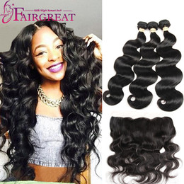 Wholesale Black Bundle - Body Wave and Straight Human Hair Bundles With Lace Frontal Human Hair Extensions Brazilian Peruvian Indian Malaysian Virgin Hair Products