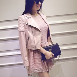 Wholesale Womens Leather Jackets Zippers - 2016 Famous Brand Jacket 100% genuine leather jacket Womens pink Leather outerwear Jackets for Women sheepskin dropship