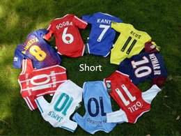 Wholesale Yellow Baby Shorts - 2017 2018 New Real Madrid Baby soccer Jersey PSG Cotton Short Sleeved Jumpsuit Baby Triangle Climb Clothes Loveclily baby's fans shirt