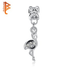 Wholesale Crane Ship - BELAWANG Silver Plated Red-crowned Crane Pendant Beads With CZ Fit Charm Bracelets&Necklaces DIY Jewelry Making Wholesale Free Shipping