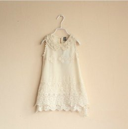 Wholesale Embroider Pearl - New Summer Girls sweet Lace pearl collar Vest Dresses fair maiden sleeveless Children Dress Kids Clothing 5pcs lot
