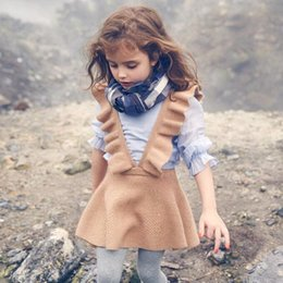 Wholesale Girls Knit Dresses Wholesale - Girls Knit Dress Flutter Sleeve Petal Overalls Dresses Suspender skirt Boutique girl clothing Preppy style 2017 Christmas Fall Winter Brown