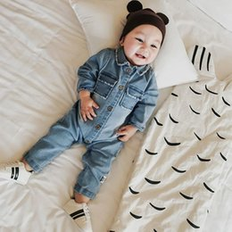 Wholesale Wholesale Pocket Jumpsuit - Baby Clothing Jeans Romper Fashion Rainbow Animal Printed Pocket Long Sleeve Turn-down Collar Infant Boy Girl Jumpsuit
