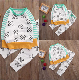 Wholesale Striped Leggings Outfit - 2016 trendy kids suits Newborn Baby Girl Boy X Letters striped sleeve T-shirt+Pants Leggings 2pcs autumn winter warm Outfits Clothes TOP Set