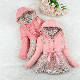 Wholesale Pink Coat Double Breasted - Children winter clothing girls winter coat Girls double-breasted hooded coat girl floral coat 4 p l