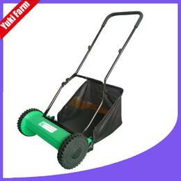 Wholesale Grass Trim - Hand push 16 inch lawn mower manual gardening tool lawnmower with straw bag drum grass mower garden trimmer tool