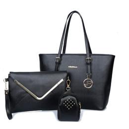 Wholesale Metallic Tote Bags Wholesale - 2016 Fashion Women Shoulder Bag 3pcs set PU Leather Tote Bags Lady Handbags 5 Colors Female Composite Bag
