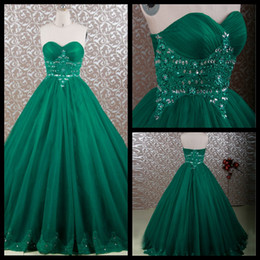 Wholesale Emerald Green Color Dresses - Modest 2016 Emerald Green Sweetheart Strapless Princess Ball Gown Tulle Quinceanera Dress With Beaded Lace Applique Sweet 16 Dress