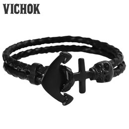 Wholesale Head Bracelet - 316L Stainless Steel Bracelet Individual Two Layer Skull Head Arrows Charm Bracelet For Women Men Black Color Fashion Jewelry VICHOK