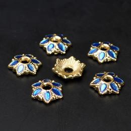 Perline di metallo fiamma online-(50 pezzi / lottp) 7mm Fiore Bead Caps Vintage Smalto Metallo Smalto Tibet Perline Gioielli FAI DA TE Risultati 10lbz