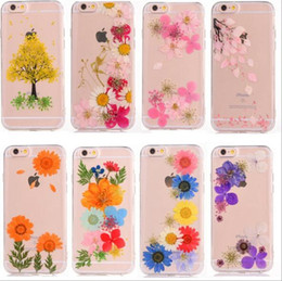 Wholesale Elegant Case For Iphone - Elegant Genuine Real Dried Flowers Pressed DIY Case Clear TPU Soft Handmade Natural For iphone 6 6s plus 7 7plus full Protector Shell Skin