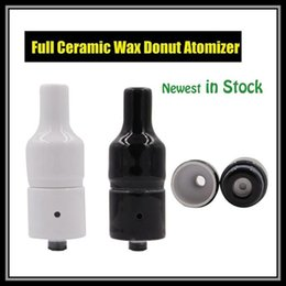 Wholesale Vaporizer Smoking Atomizer - Full Ceramic Donut Tank Atomizer Black White Colors 510 eGo Thread Wax Ecig Vaporizer Pen Wickless Heating Element Smoking E-Cigarette