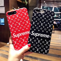 Wholesale Fit Phone - English letter pattern black and red Phone Case for Apple iphone6 6S 6plus Caes for iphone 7 7plus 8 8plus TPU soft shell back cover