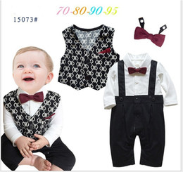 Wholesale Infant Boys Bowtie Rompers - 2016 Spring Autumn Infant Baby Clothing Sets Toddler Gentleman Style Long Sleeve Rompers+Waistcoat+Bowtie 3pcs Set Boys Outfits Babies Suit