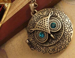 Rotondo in bronzo online-Regalo di Natale dei monili di dichiarazione di modo della catena del maglione del bronzo lungo antico del bronzo del retro del gufo della lega del gufo dell'occhio blu