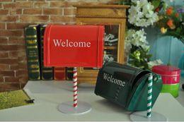 Wholesale Mailbox Iron - new zakka crafts handmade red green classic retro mailbox postbox model iron metal coffee bar home decor