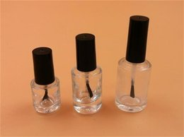 small polish bottle Promo Codes - Wholesale- Free Shipping 10pcs lot 10ml Nail Polish Bottles Screw Cap With Brush Small Empty Cosmetics Packaging Clear Glue Glass Bottles