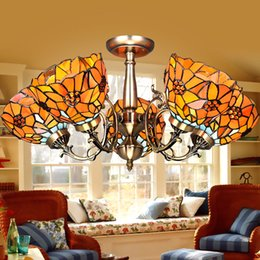 Wholesale Living Room Baroque Style - Tiffany Baroque Style Grape Chandeliers Surface Mounted Lights Hand Made Lampshade Stained Glass Creative Lighting Bedroom Lamp Living Room