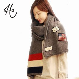 Wholesale Knitted Flag Scarf - Wholesale-Super Cool!2015New Lengthen Thicken Flag Striped Unisex Winter Scarf Women Shawl Knit Scarf Men Warm Wool bufandas Free Shipping